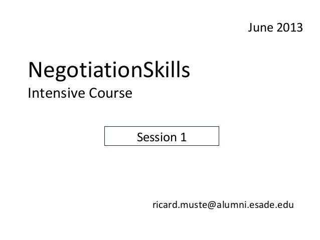 Session 1 negotiation skills course