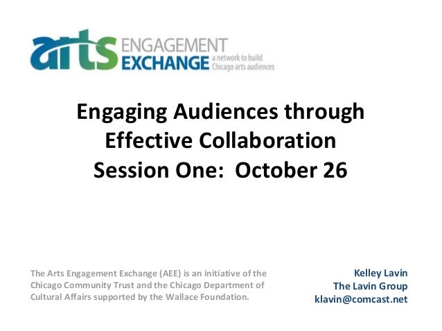 Engaging Audiences through Effective Collaboration Session One: October 26 Kelley Lavin The Lavin Group klavin@comcast.net...