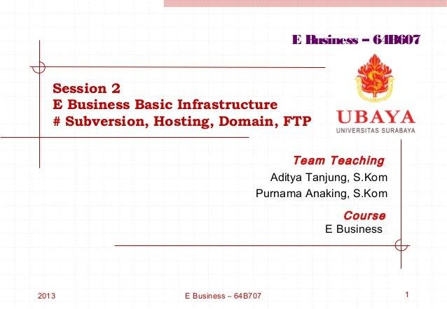 E Business – 64B607   Session 2   E Business Basic Infrastructure   # Subversion, Hosting, Domain, FTP                    ...