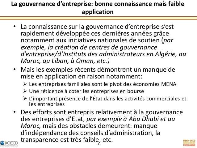 La gouvernance d'entreprise dans la région MENA: bonne connaissance mais faible application