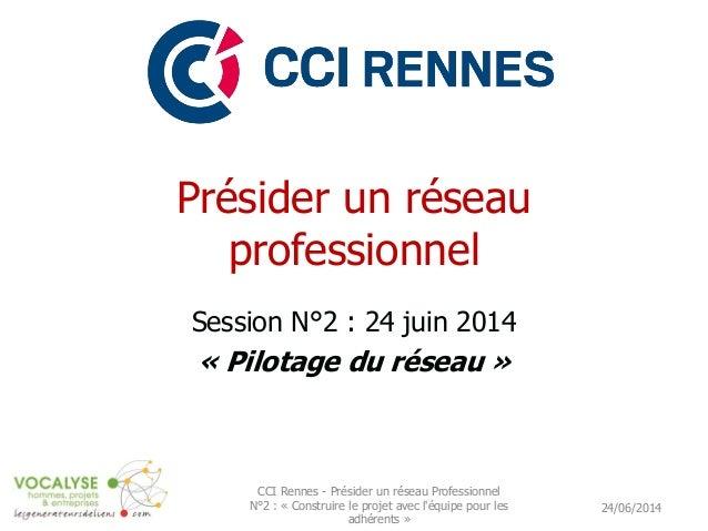 Présider un réseau professionnel Session N°2 : 24 juin 2014 « Pilotage du réseau » 24/06/2014 CCI Rennes - Présider un rés...