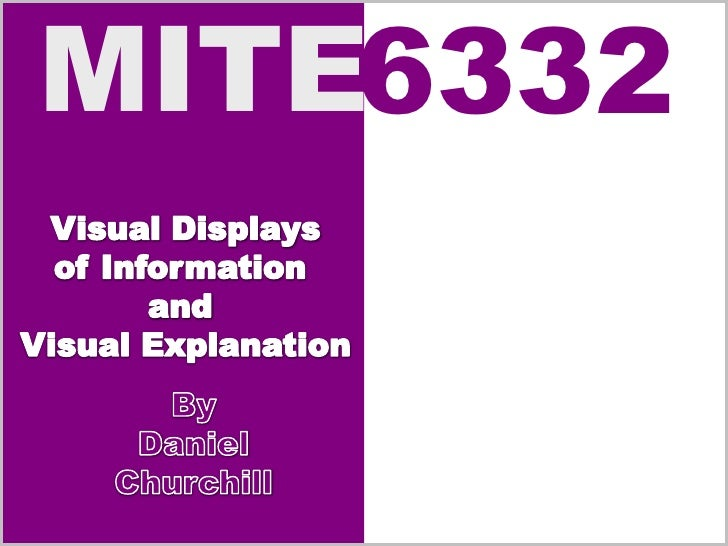 Visual Displays<br />of Information <br />and <br />Visual Explanation<br />By<br />Daniel Churchill<br />