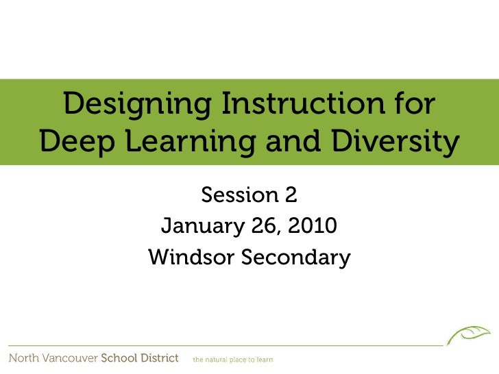 Designing Instruction for Deep Learning and Diversity           Session 2        January 26, 2010       Windsor Secondary
