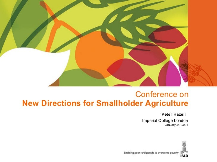 Conference on New Directions for Smallholder Agriculture Peter Hazell  Imperial College London January 24, 2011