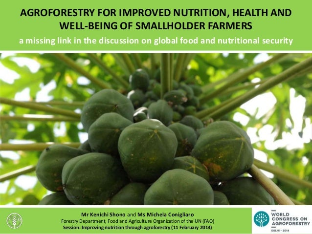 AGROFORESTRY FOR IMPROVED NUTRITION, HEALTH AND WELL-BEING OF SMALLHOLDER FARMERS a missing link in the discussion on glob...