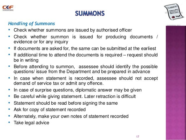 I have a legal question regarding service of a summons?