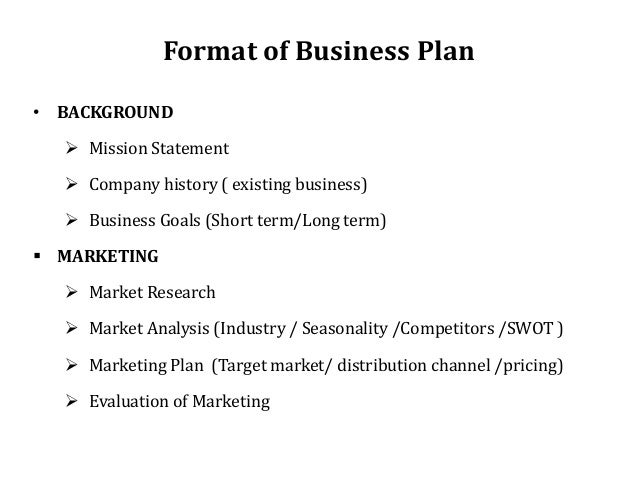 Key parts of a business plan