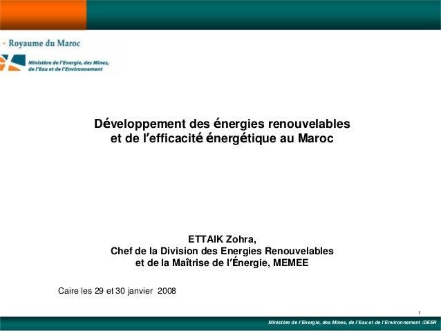 Développement des énergies renouvelables           et de l'efficacité énergétique au Maroc                              ET...