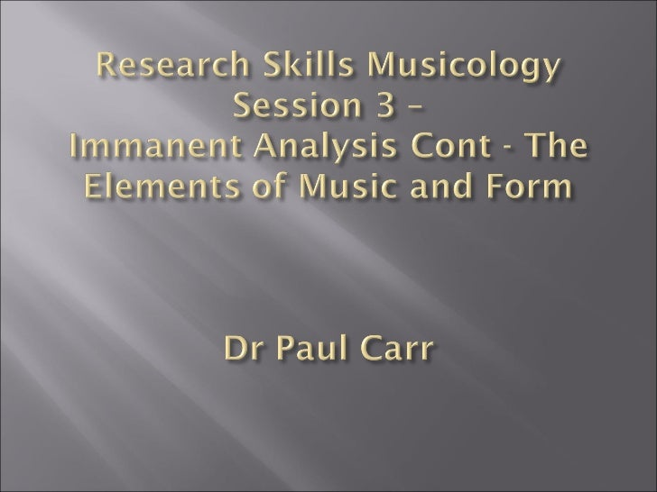Session  3'the elements of music'