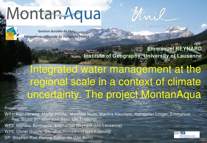 Gestion durable de l'eau         Programme nationale de recherche PNR61                                                   ...