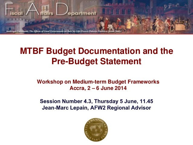 Budget documentation and the pre-budget statetement paper