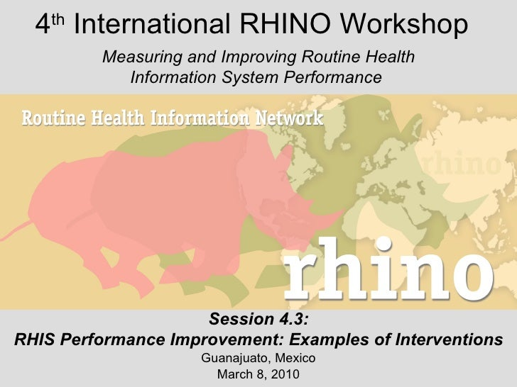 Interventions to Improve RHIS Performance