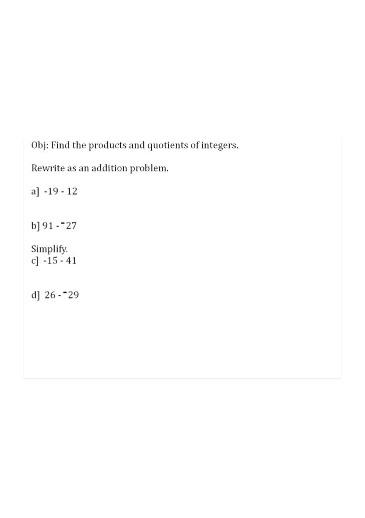 Session 4: Multiply and Divide Integers