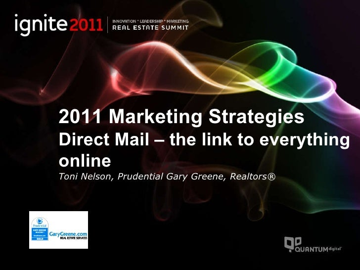2011 Marketing Strategies Direct Mail – the link to everything online Toni Nelson, Prudential Gary Greene, Realtors®