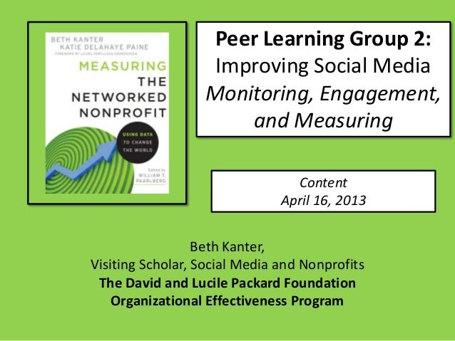 Peer Learning Group 2:                   Improving Social Media                  Monitoring, Engagement,                  ...