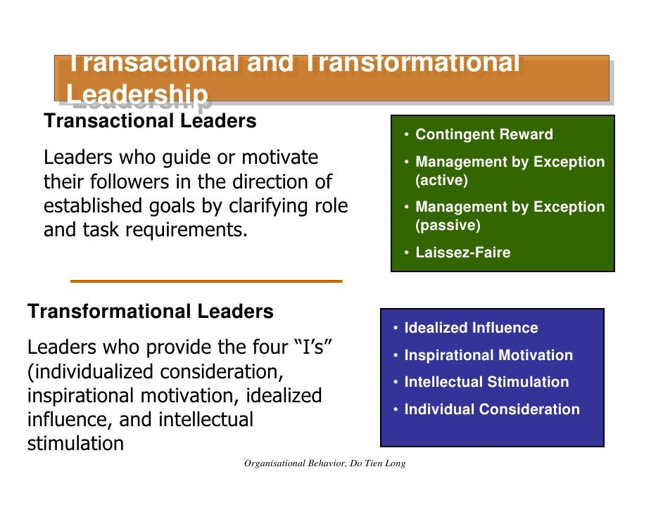 transactional transformational or level 5 Transformational leadership models: level 5 leadership given that level 5 leadership is a transformational leadership model, before going into details about it, and so as to establish some background, the next paragraphs will briefly touch upon the fundamentals of the transformational leadership theory.