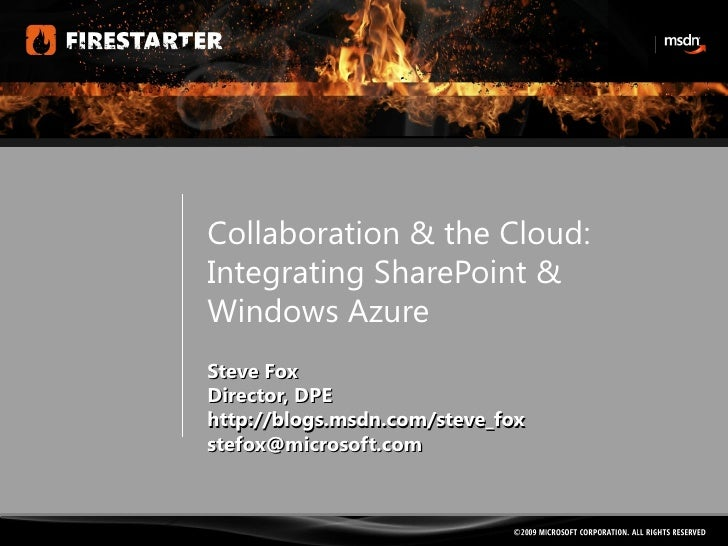 Session6-SharePoint and Azure- steve fox-windows-and_azure_spfs