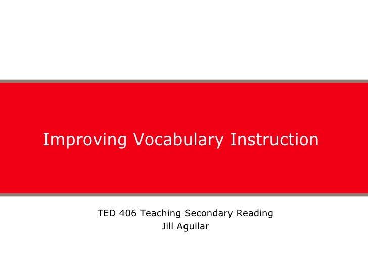 Secondary Vocabulary Instruction