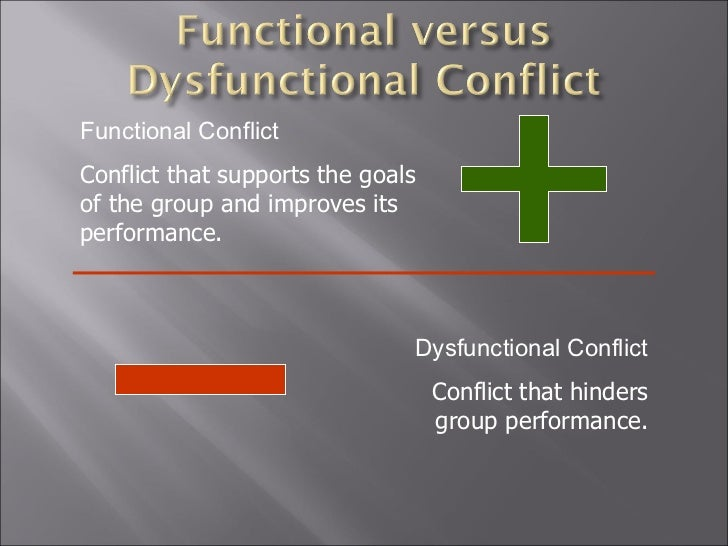 distinguish between functional and dysfunctional conflict In discussing how to manage dysfunctional workplace situations and issues within legal is focused on creating a functional organization group conflict based dysfunctional workplaces arise when two or more departments or groups.