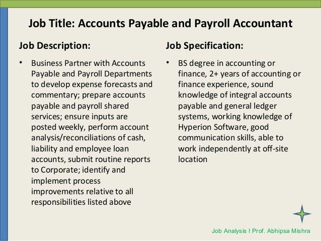 Accounts Payable Job Description Sample