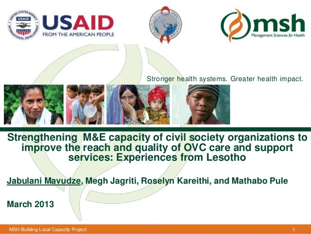 Stronger health systems. Greater health impact.Strengthening M&E capacity of civil society organizations to   improve the ...