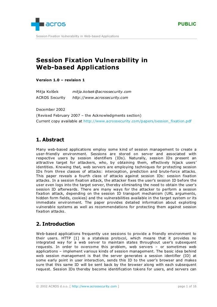 PUBLICSession Fixation Vulnerability in Web-based ApplicationsSession Fixation Vulnerability inWeb-based ApplicationsVersi...