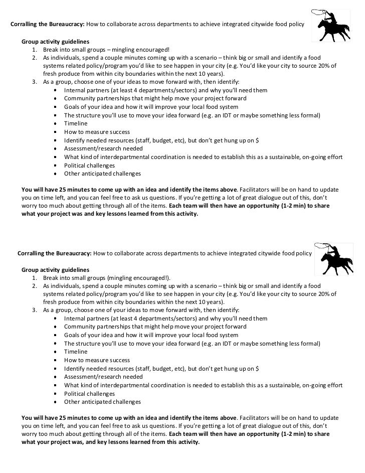 Handout for Corralling the Bureaucracy: How to Work Toward Integrated Citywide Food Policy