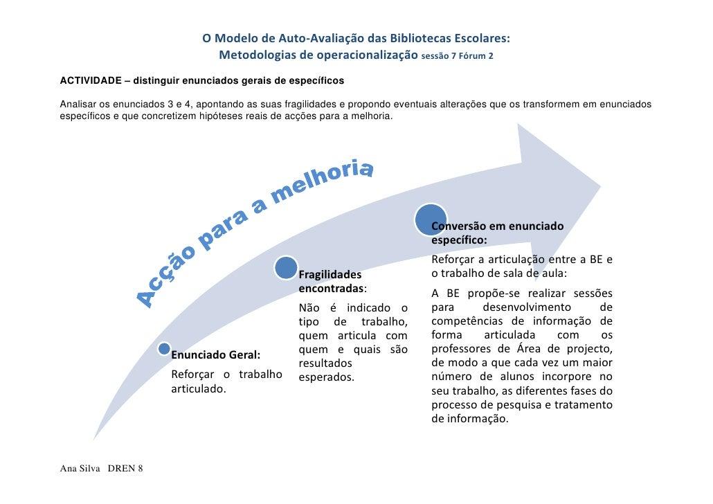OModelodeAuto‐AvaliaçãodasBibliotecasEscolares:                                 Metodologiasdeoperacionalização...