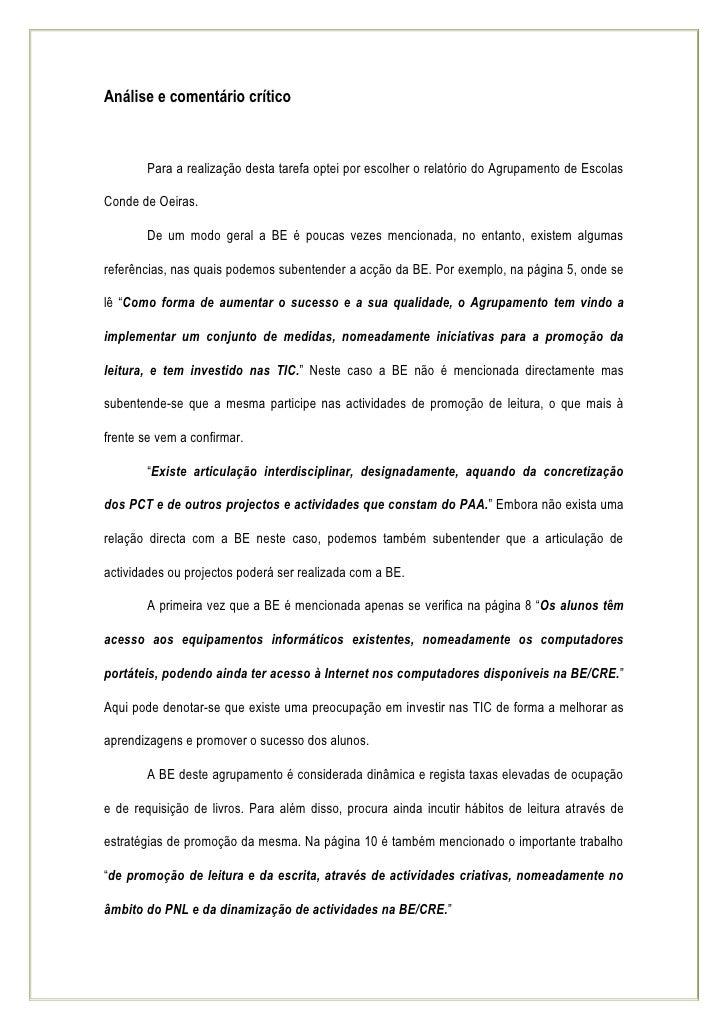 SessãO 7 AnáLise E ComentáRio CríTico 2ª Tarefa