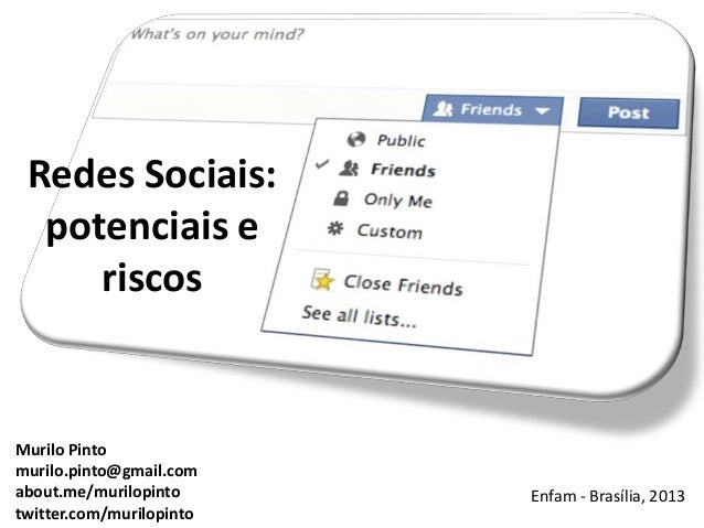 Redes Sociais: potenciais e riscos Enfam - Brasília, 2013 Murilo Pinto murilo.pinto@gmail.com about.me/murilopinto twitter...