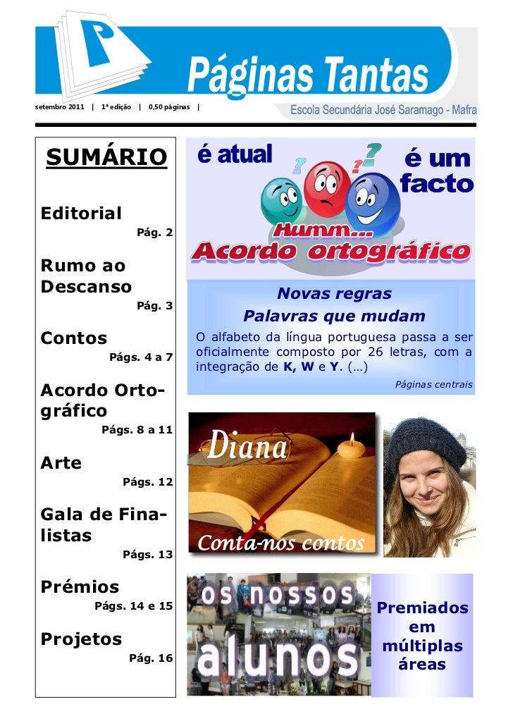 setembro 2011        1ª edição       0,50 páginas      SUMÁRIO Editorial                                 Pág. 2 Rumo ao De...