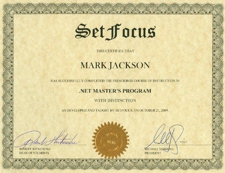 Set Focus Certificate
