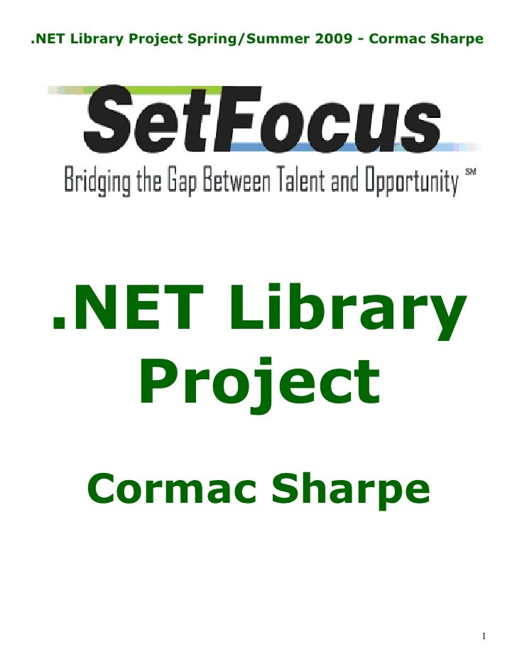 .NET Project Manual