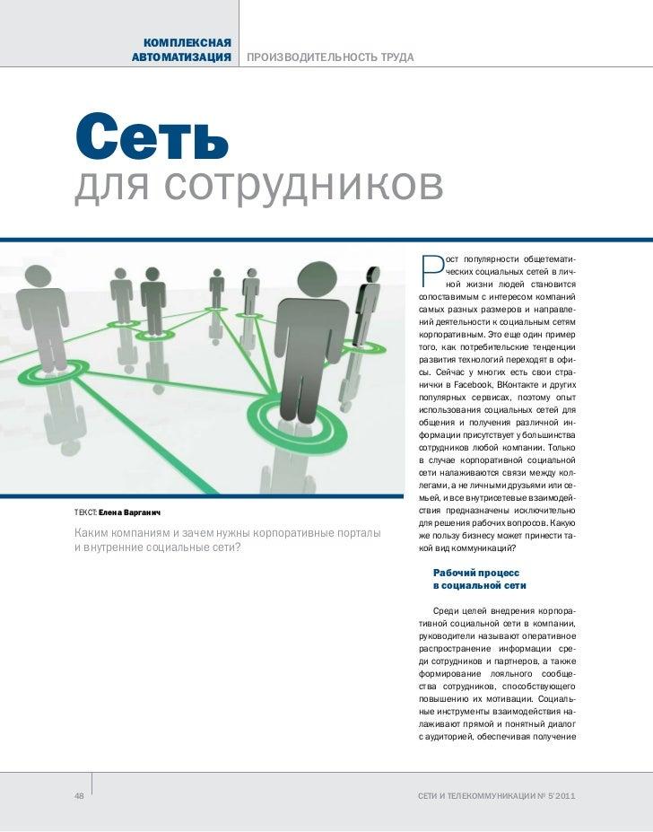 КОМПЛЕКСНАЯ             АВТОМАТИЗАЦИЯ   ПРОИЗВОДИТЕЛЬНОСТЬ ТРУДАСетьдля сотрудников                                       ...