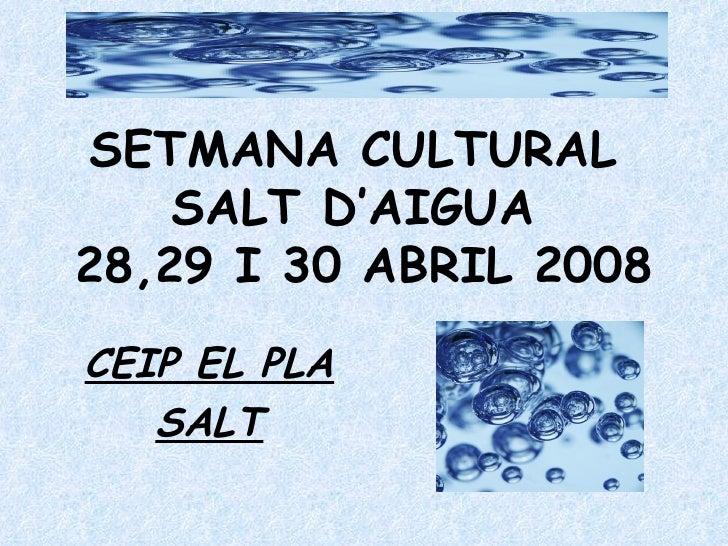 SETMANA CULTURAL  SALT D'AIGUA  28,29 I 30 ABRIL 2008 CEIP EL PLA SALT