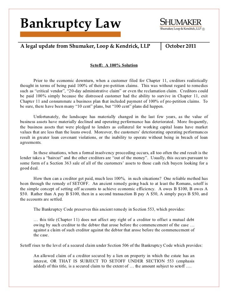 Bankruptcy Law                                                                                          ®A legal update fr...