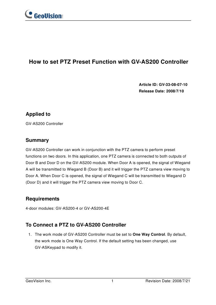 How to set PTZ Preset Function with GV-AS200 Controller                                                                Art...