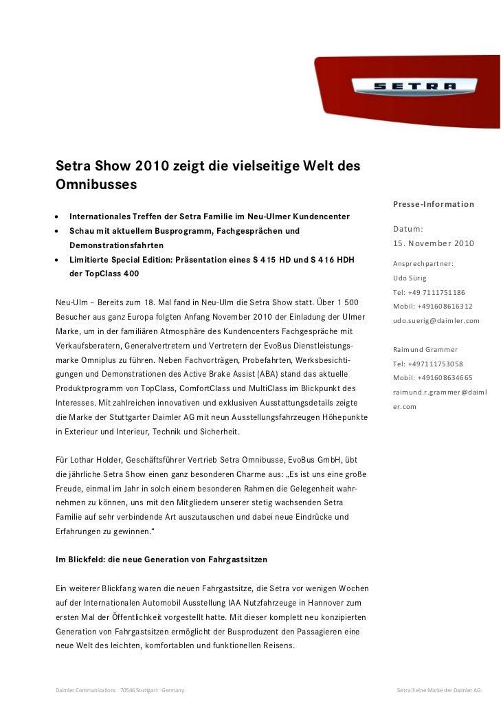 Setra Show 2010 zeigt die vielseitige Welt desOmnibusses                                                                  ...