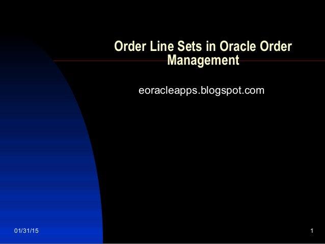 Order Line Sets in Oracle Order Management