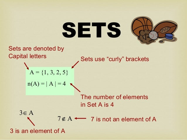 "SETS A = {1, 3, 2, 5} n(A) = | A | = 4 Sets use ""curly"" brackets The number of elements in Set A is 4 Sets are denoted by ..."