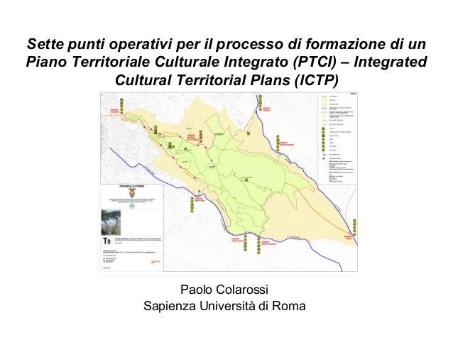 Sette punti operativi per il processo di formazione di unPiano Territoriale Culturale Integrato (PTCI) – IntegratedCultura...