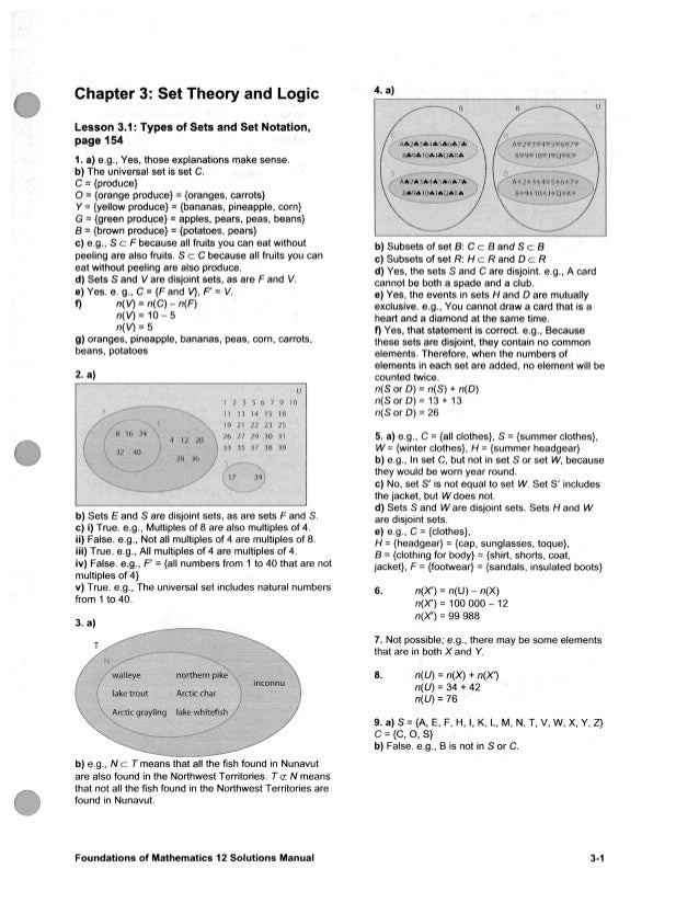 Chapter 3: Set Theory and LogicL e s s o n 3.1: T y p e s of S e t s a n d S e t Notation,page 1541. a) e.g., Y e s , thos...