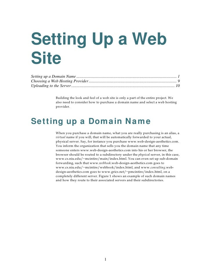Setting Up a Web Site Setting up a Domain Name ..............................................................................