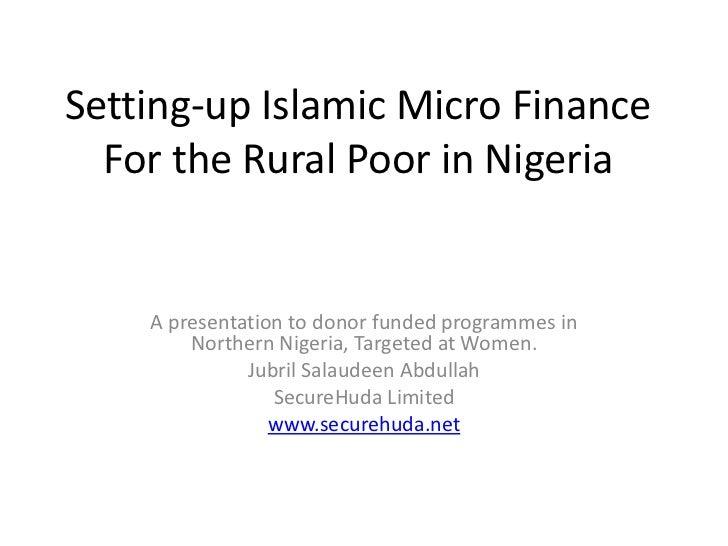 Setting up Islamic micro finance