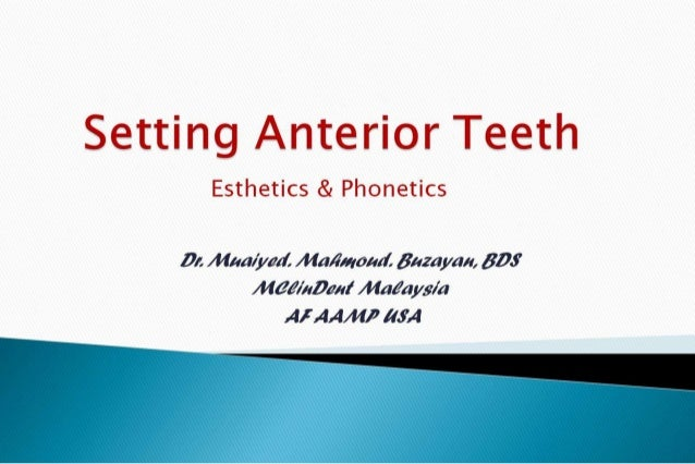 Setting anterior teeth cd 2nd yr