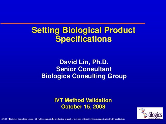 Setting Biological Product                                        Specifications                                          ...