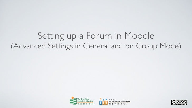 Setting up a forum (advanced settings in general and on group