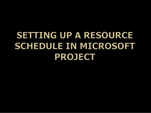 Setting Up a Resource Schedule in Microsoft Project