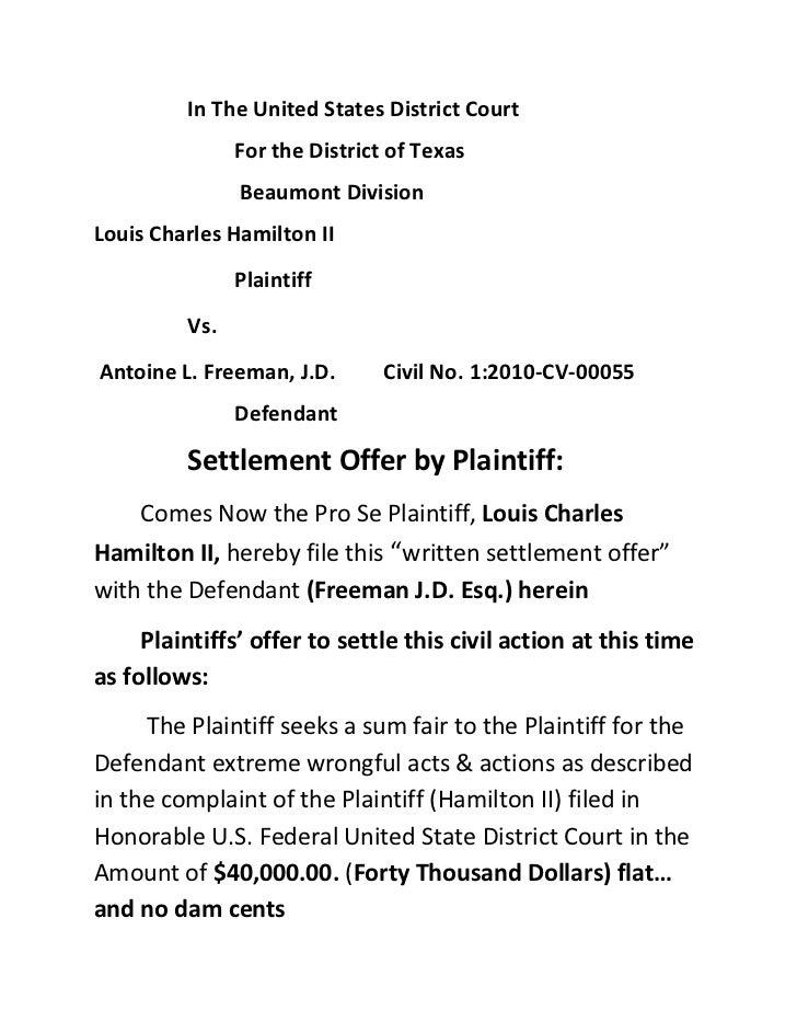 Settlement offer to attorney antoine l. freeman j.d. esq.