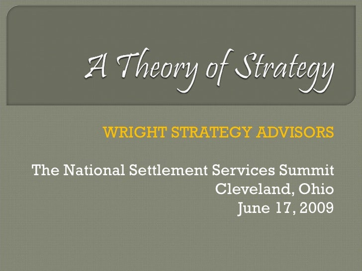 WRIGHT STRATEGY ADVISORS The National Settlement Services Summit Cleveland, Ohio June 17, 2009